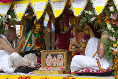 Chariot with picture of Srila Prabhupada in the 37th Annual Festival of the Chariots Stock Photos
