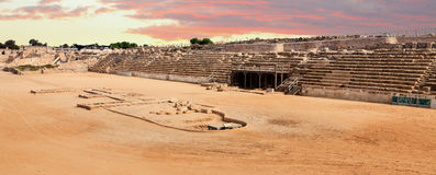 Chariot race track. Of the Roman Empire times at Caesarea, Israel Stock Image