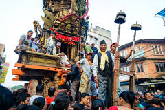 Chariot of rain Rato Machhindranath procession in Patan, Nepal Royalty Free Stock Photo