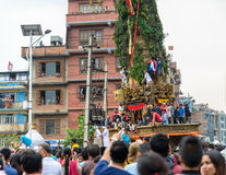 Chariot of rain Rato Machhindranath procession in Patan, Nepal Royalty Free Stock Image