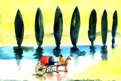 Chariot rides along the avenue with a cypress. Against the backdrop of a yellow sky stock illustration
