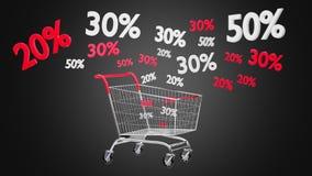 Chariot rouge et blanc et remise de ventes - 3d rendent Images stock