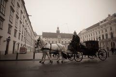 Chariot se débarrassant sur les rues de Vienne Photos stock