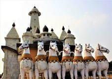 The Chariot of the Sun outside a Sun temple in Ranchi India. The picture of seven horses driving the chariot of Sun god outside the Sun Temple near Ranchi in royalty free stock image