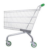 Chariot à supermarché avec le chemin de découpage Images stock