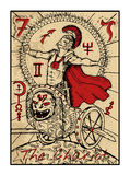 The Chariot. The tarot card. The chariot. The major arcana tarot card in color, vintage hand drawn engraved illustration with mystic symbols. Warrior or stock illustration