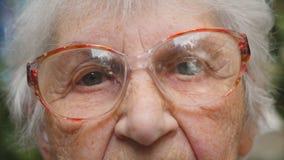 Chariot tiré de dame âgée en verres extérieurs Yeux d'une dame pluse âgé avec des rides autour de elles Fermez-vous vers le haut  banque de vidéos