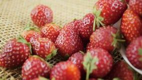 Chariot tiré du fruit rouge de fraises banque de vidéos