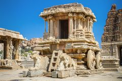Chariot and Vittala temple at Hampi Royalty Free Stock Photography