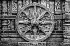 The Chariot wheel. Chariot Wheel is a famous landmark in the 13th century Sun Temple complex in Konark, Odisha, India Stock Images