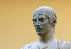 Charioteer of Delphi statue, close up head detail Stock Images