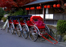 Chariots. Some chariots in a touristic area of Kyoto city,Japan Stock Image
