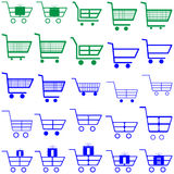 Chariots bleus et verts - icônes Image stock