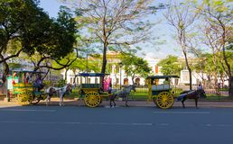 Chariots de cheval dans le secteur historique d'intra-muros image libre de droits