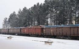 Chariots de fret dans la neige photo stock