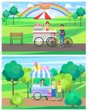 Chariots de rue de hot-dog et de crème glacée en parc vert illustration de vecteur