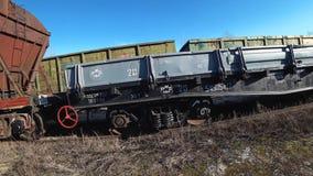 Chariots de train de fret Wagons ferroviaires photographie stock libre de droits