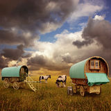Chariots gitans, caravanes Photo libre de droits