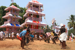 Chariots in temple festival. Procession of huge fabricated chariots in Oripurathu Temple Festival in Pathanamthitta, Kerala, India stock photos