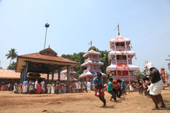 Chariots in temple festival. Procession of huge fabricated chariots in Oripurathu Temple Festival in Pathanamthitta, Kerala, India royalty free stock photography
