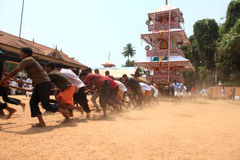 Chariots in temple festival. Procession of huge fabricated chariots in Oripurathu Temple Festival in Pathanamthitta, Kerala, India stock image
