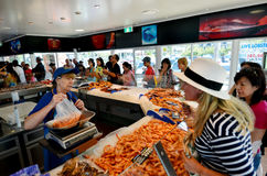 Charis Seafood Store in Gouden Kust Australië Stock Foto's