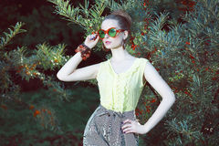 Charisma. Cute Woman in Fancy Sunglasses Outside Royalty Free Stock Photos