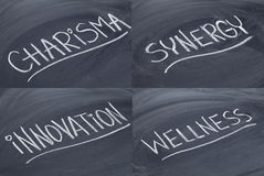 Charisma, synergy, innovation, wellness. A collage of 4 images - words in white chalk handwriting on blackboard Royalty Free Stock Images