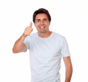 Charismatic adult man showing positive sign Royalty Free Stock Images