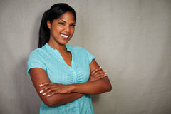 Charismatic african lady smiling at the camera Stock Images