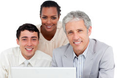 Charismatic business co-workers using a laptop Royalty Free Stock Photography