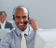 Charismatic  businessman with headset Stock Photo