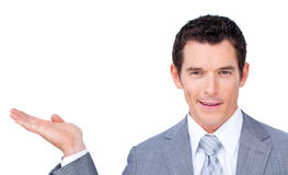 Charismatic businessman presenting Stock Photo