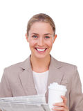 Charismatic businesswoman drinking a coffee Stock Photos