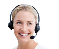 Charismatic businesswoman with headset on Stock Images