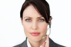 Charismatic businesswoman using headset Royalty Free Stock Photo