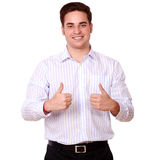 Charismatic caucasian guy with ok sign Stock Photos