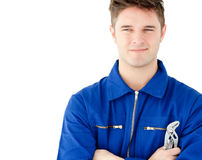 Charismatic caucasian worker holding tool Royalty Free Stock Photos