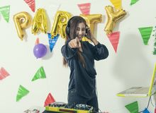 Charismatic disc jockey DJ music players having fun party. In the night. celebration happy new year and christmas stock image
