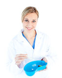Charismatic female doctor holding capsule Stock Images