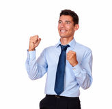 Charismatic hispanic man celebrating his victory Stock Images