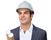 Charismatic male architect wearing a hardhat Royalty Free Stock Photo