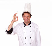 Charismatic male chef gesturing positive sign Stock Photography