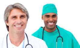 Charismatic male doctors standing in a line Royalty Free Stock Image