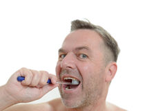 Charismatic man cleaning his teeth Stock Photo