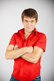 Charismatic man in red shirt Royalty Free Stock Photography