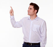 Charismatic stylish male pointing to people Royalty Free Stock Photography