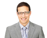 Charismatic young businessman wearing glasses. Isolated on a white background Stock Image