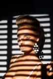Charisme. Le visage de la femme avec du charme dans l'ombre des abat-jour de rouleau image libre de droits