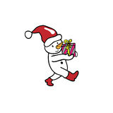 Charistmas Snowman carries gift Royalty Free Stock Images